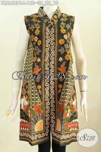 Batik Dress Istimewa Model Tanpa Lengan, Pakaian Batik Modis halus Motif Mewah Proses Cap Untuk Penampilan Lebih Trendy [DR6468C-L]