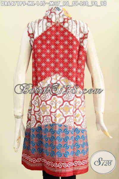 Batik Dress Masa Kini Motif Bagus Warna Cerah, Baju Batik Tanpa Lengan Untuk Wanita Muda Dan Dewasa Tampil Istimewa [DR6471P-M]