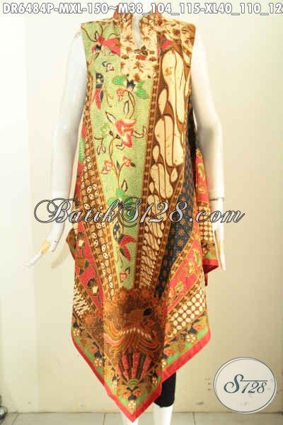 Baju Dress Batik Motif Moderl Klasik, Pakaian Batik Tanpa Lengan Dengan Resleting Belakang Trend Masa Kini Harga 100 Ribuan [DR6484P-M , XL]