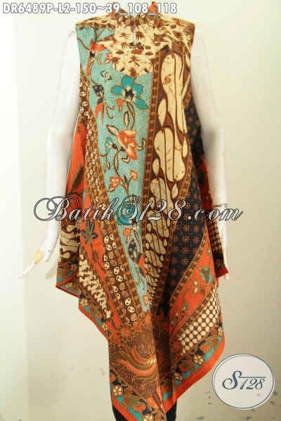 Baju Dress Batik Solo Istimewa, Pakaian Batik Terusan Tanpa Lengan Bahan Halus Motif Klasik Proses Printing Pakai Resleting Belakang [DR6489P-L]