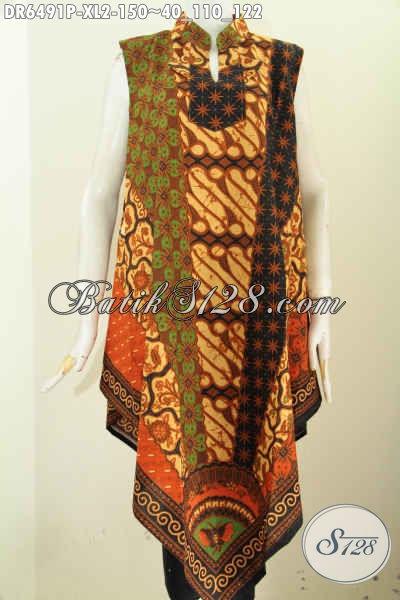 Dress Batik Klasik Model Tanpa Lengan, Pakaian Batik Modis Keren Pakai Resleting Belakang Proses Printing Untuk Hangout Dan Jalan-Jalan [DR6491P-XL]