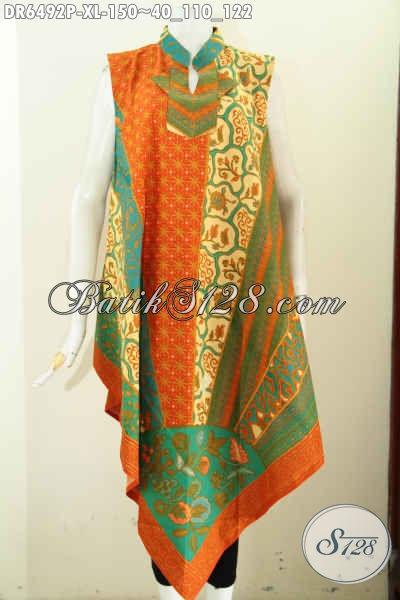 Jual Baju Dress Batik Online, Pakaian Batik Istimewa Buatan Solo Model Tanpa Lengan Resleting Belakang Berbahan Halus Proses Printing Hanya 150 Ribu [DR6492P-XL]