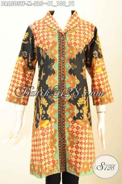 Baju Batik Terusan, Busana Batik Wanita Terkini, Dress Batik Kerah Langsung Desai Mewah Full Tricot Harga 500 Ribuan Motif Tulis Asli [DR6503TF-M]