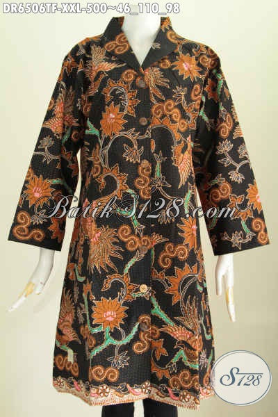 Baju Batik Elegan Harga 500K, Dress Batik Kerah Langsung Spesial Untuk Wanita Gemuk Model Terkini Proses Tulis Daleman Full Furing [DR6506TF-XXL]