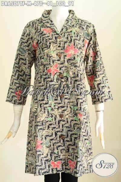 Baju Batik Dress Halus Motif Trendy Warna Bagus Proses Tulis, Busana Batik Kerah Langsung Untuk Penampilan Lebih Sempurna [DR6507TF-M]