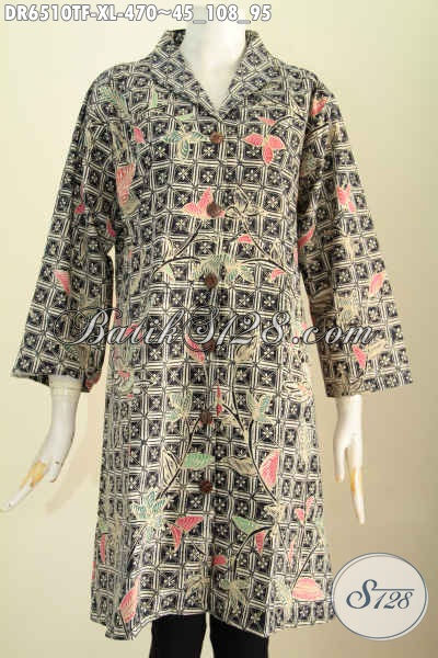 Dress Batik Wanita Dewasa, Busana Batik Solo Motif Mewah Proses Tulis Lebih Berkelas Dengan Daleman Tricot Model Kerah Langsung Harga 470K [DR6510TF-XL]