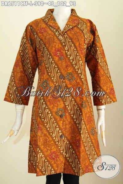 Juragan Baju Batik Online, Sedia Dress Kerah Lagsung Full Tricot Motif Klasik Proses Cap Tulis Hanya 390K [DR6511CTF-L]