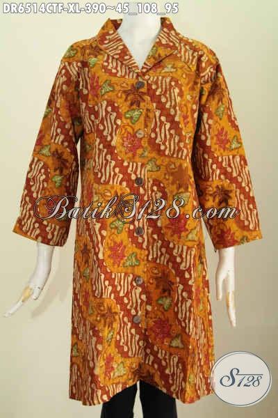 Dress Batik Premium Motif Klasik, Pakaian Batik Solo Halus Bahan Adem Proses Cap Tulis Untuk Wanita Dewasa Terlihat Mempesona Dan Elegan [DR6514CTF-XL]