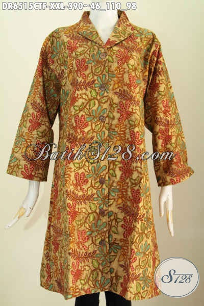 Dress Batik Jumbo Ukuran XXL, Baju Batik Wanita Gemuk Model Kerah Langsung Merwah Dengan Full Tricot Harga 390K [DR6515CTF-XXL]