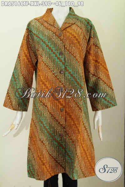Dress Batik Jumbo Motif Klasik, Baju Batik Terusan kerah Langsung Bahan Halus Proses Cap Tulis Daleman Pake Furing Tricot [DR6516CTF-XXL]