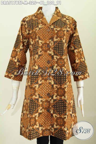 Baju Batik Klasik Full Furing Tricot, Dress Batik Kerah Langsung Proses Kombinasi Tulis Untuk Penampilan Lebih Istimewa [DR6517BTF-M]