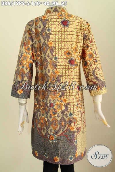 Busana Batik Elegan Desain Terkini, Baju Batik Halus Proses Printing Pake Saku Dan Kancing Banyak Asli Buatan Solo, Cocok Untuk Kerja [DR6519P-S]
