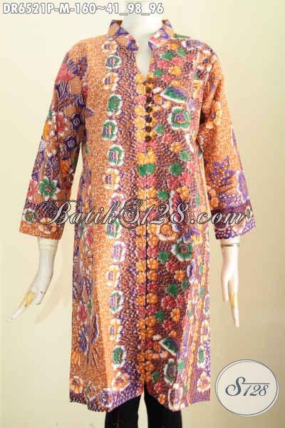Baju Batik Wanita Muda, Busana Batik Terusan Asli Solo, Dress Batik Masa Kini Bikin Wanita Terlihat Berkelas [DR6521P-M]
