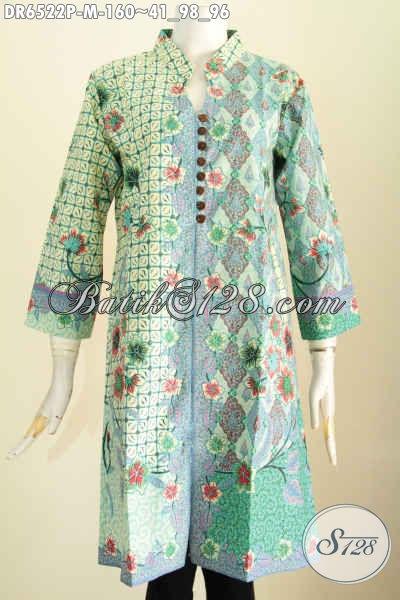 Baju Dress Batik Ukuran M, Busana Batik Terusan Kancing Banyak Pake Saku Depan Kanan Kiri Makin Modis Dan Keren [DR6522P-M]
