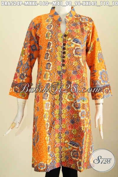 Dress Batik Mewah Proses Printing Harga 160K, Busana Batik Berkelas Desain Kancing Banyak Bahan Adem Pake Saku Kanan Kiri, Cocok Buat Ke Kantor [DR6524P-XXL]