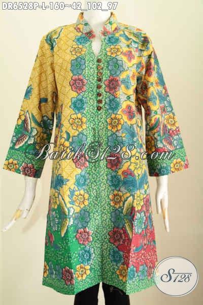 Batik Dress Terkini Cocok Untuk Kerja Dan Acara Resmi, Hadir Dengan Desain Modis Kancing Banyak Pake Saku Motif Keren Proses Printing Harga 160K [DR6528P-L]