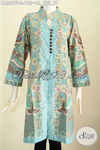 Jual Online Baju Batik Modern, Pakaian Batik Keren Desain Dress Kancing Banyak Proses Printing Harga 100 Ribuan [DR6529P-L]