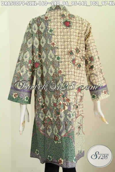 Baju Batik Elegan Untuk Wanita Muda Dan Dewasa, Dress Batik Kancing Banyak Saku Depan Motif Mewah Printing Di Jual Onine 160K [DR6530P-S , L]