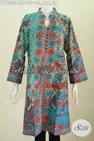 Dress Batik Dari Solo, Busana Batik Kwalitas Bagus Bahan Adem Proses Printing Pakai Kancing Banyak Dan Saku Kanan Kiri Harga 160 Ribu [DR6535P-XL]