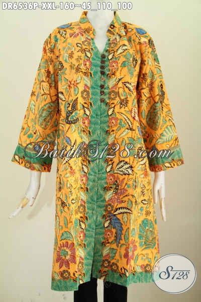 Dress Batik Jumbo Spesial Untuk Wanita Karir Berbadan Gemuk, Baju Batik Berkelas Kancing Banyak Pakai Saku Kanan Kiri Lebih Modis Dan Trendy [DR6536P-XXL]
