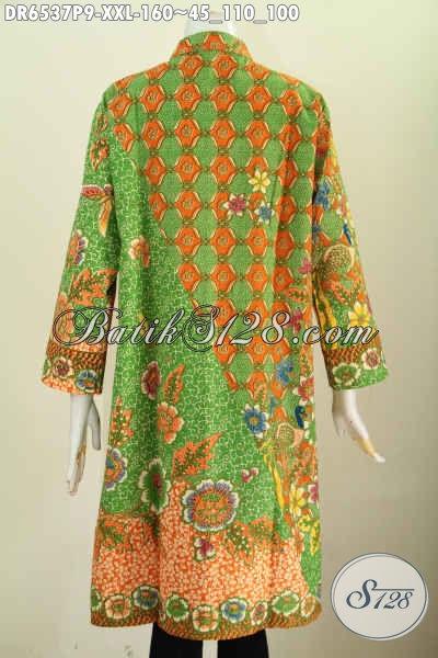 Baju Batik Dress Modis Motif ELegan Dan Mewah, Busana Batik Printing Kancing Banyak Saku Kan Kiri Untuk Wanita Gemuk Tampil Modis [DR6537P-XXL]