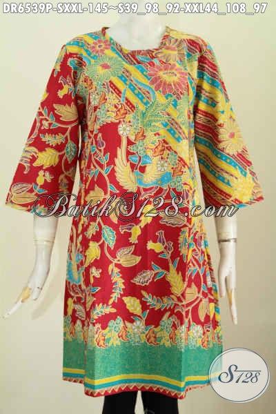 Baju Batik Dress Modern Desain Tanpa Krah, Baju Batik Trendy Pake Resleting Belakang Warna Bagus Proses Printing Hanya 145K [DR6539P-XXL]