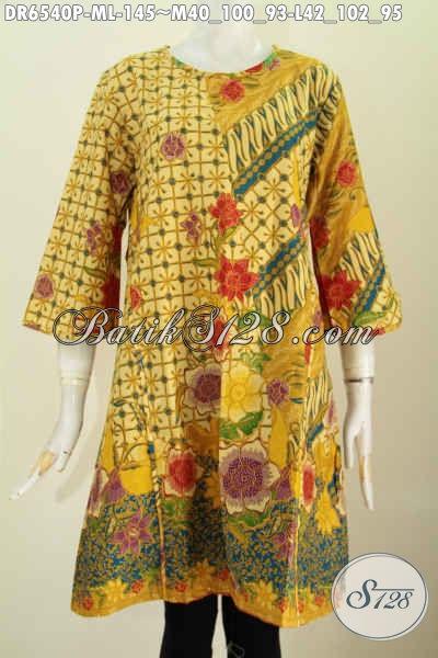 Jual Baju Dress Batik Online, Pakaian Batik Solo Masa Kini Model Tanpa Krah Pake Resleting Belakang Yan Banyak Di Cari Wanita Karir [DR6540P-M]