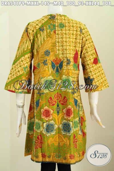 Batik Dress Halus Nan Berkelas, Baju Batik Masa Kini Buatan Solo Asli Bahan Adem Desain Tanpa Kerah Cocok Untuk Santai Dan Resmi [DR6541P-M]