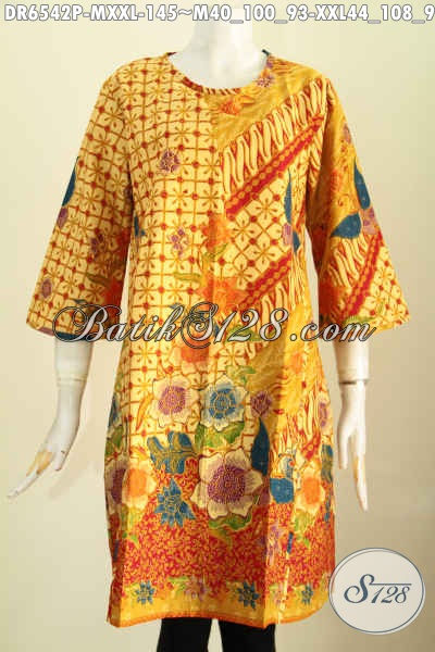 Jual Batik Dress Tanpa Krah, Baju Batik Wanita Desain Resleting Belakang Motif Bagus Proses Printinf Hanya 145 Ribu [DR6542P-M]