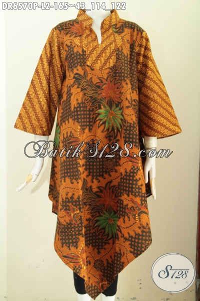 Sedia Pakaian Batik Jawa Tengah, Baju Dress Batik Klasik Istimewa Kerah Shanghai Kotak Bahan Halus Proses Printing Di Jual Online 165K [DR6570P-L]