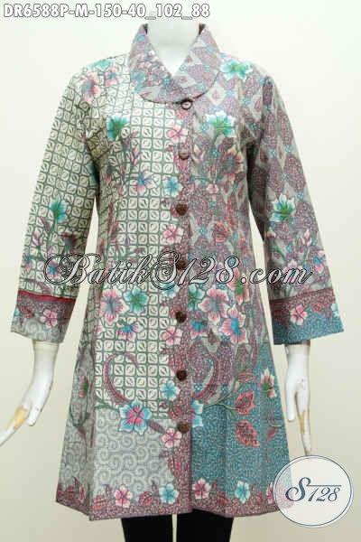Batik Dress Trendy Kerah Miring, Hadir Dengan Motif Modern Proses Printing Warna Bagus Tampil Lebih Percaya Diri [DR6588P-M]