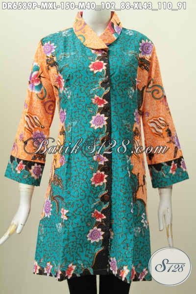 Jual Baju Dress Batik Kerah Miring Bahan Halus Kwalitas Istimewa, Busana Batik Wanita Terkini Untuk Tampil Modis Dan Keren [DR6589P-M]