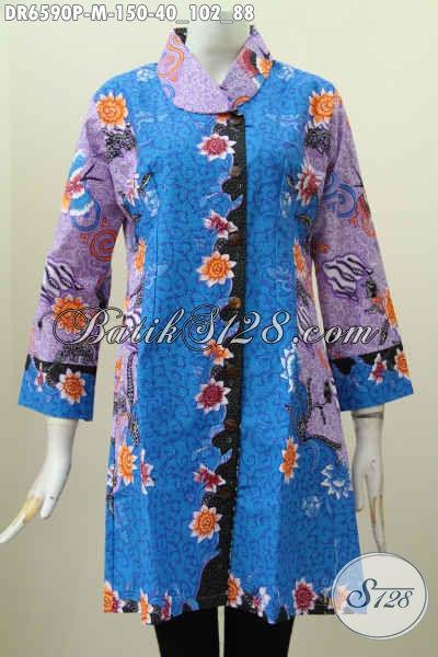 Batik Dress Halus Ukuran M, Busana Batik Berkelas Kerah Miring Motif Bagus Proses Printing Warna Trenyd Harga 150K [DR6590P-M]