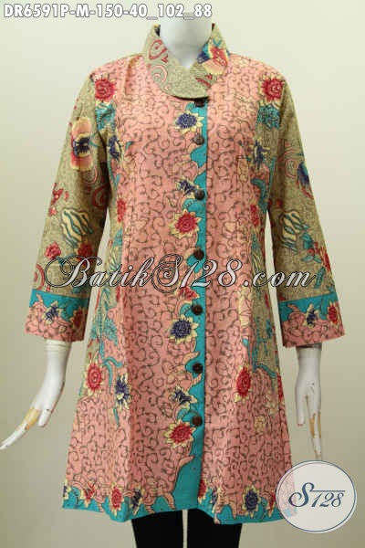 Model Dress Batik Santai Warna Pastel