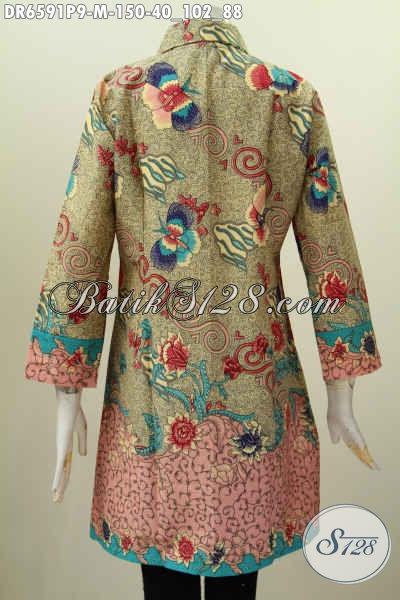 Jual Online Baju Dress Batik Modern Buatan Solo, Bahan Halus Proses Printing Model Kerah Miring Tampil Trendy Dan Modis [DR6591P-M]