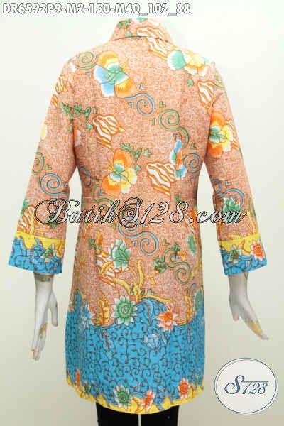 Agen Baju Batik Online Sedia Dress Batik Solo Kerah Miring Motif Mewah Printing Hanya 150K Tampil Makin Berkelas [DR6592P-M]