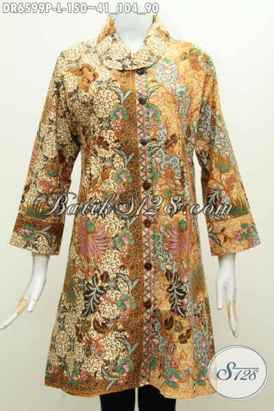 Sedia Batik Dress Halus Masa Kini model Kerah Miring Motif Mewah Bunga-Bunga Proses Printing Harga 150K, Size L