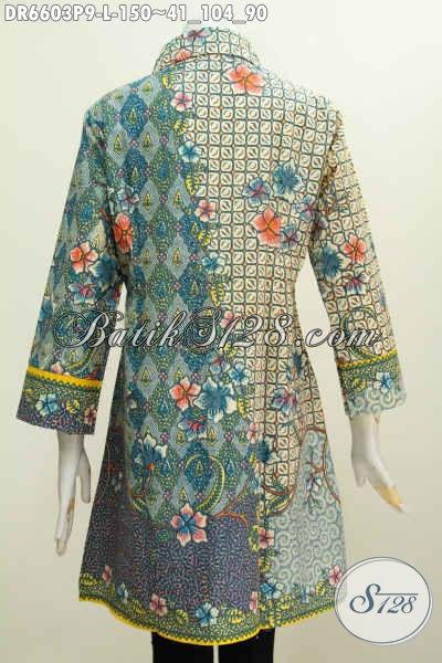Batik Dress Motif Kombinasi, Baju Batik Kerah Miring Bahan Adem Kwalitas Istimewa Proses Printing Asli Buatan Solo Indonesia [DR6603P-L]