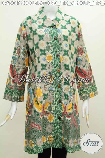 Baju Batik Dress Jumbo Warna Hijau Motif Mewah Printing