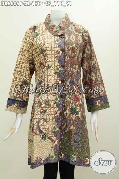 Produk Pakaian Batik Wanita Terbaru, Dress Batik Solo Halus Proses Printing Desain Istimewa Bahan Adem Model Kerah Miring Untuk Penampilan Lebih Istimewa [DR6605P-XL]