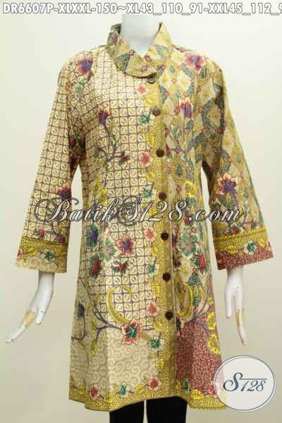 Tempat Upgrade Fashion Batik Online, Sedia Dress Batik Wanita Dewasa Bahan Halus Model Terbaru Bahan Kwalitas Bagus Hanya 100 Ribuan [DR6607P-XXL]