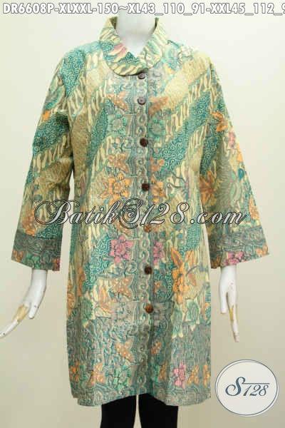 Baju Batik Solo Spesial Untuk Wanita Karir Masa Kini, Busana Batik Dress Kerah Miring Motif Mewah Proses Printing Harga 150 Ribu Saja [DR6608P-XXL]