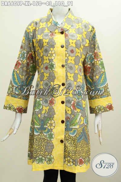 Agen Busana Batik Online Offline, Sedia Dress Kerah Miring Motif Mewah Warna Berkelas Proses Printing Cocok Buat Wanita Dewasa Karir Aktif [DR6609P-XL]