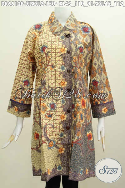 Aneka Pakaian Batik Wanita Dewasa, Busana Batik Model Kerah Miring Terbaru Motif Kombinasi Bahan Adem Proses Printing, Pas Buat Acara Formal [DR6610P-XXL]