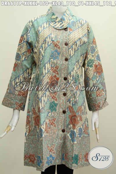 Jual Baju Batik Kerja Cewek Terkini, Dress Kerah Miring Motif Mewah Warna Bagus Proses Printing Mampu Membuat Penampilan Makin Sempurna [DR6611P-XL]