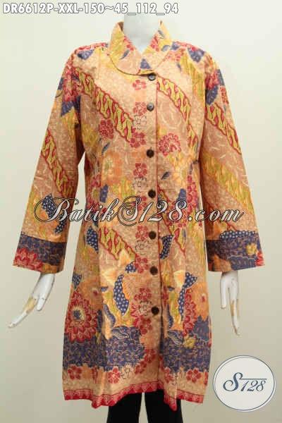 Baju Dress Batik Exclusive Untuk Wanita Gemuk, Baju Batik Kerah Miring 3L Motif Mewah Proses Printing Untuk Penampilan Lebih Menawan [DR6612P-XXL]