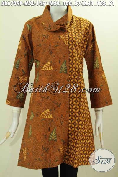 Baju Dress Batik Klasik Kerah Miring, Baju Batik Terusan Motif Kombinasi  Proses Printing Bahan Halus Harga Terjangkau [DR6705P-M]