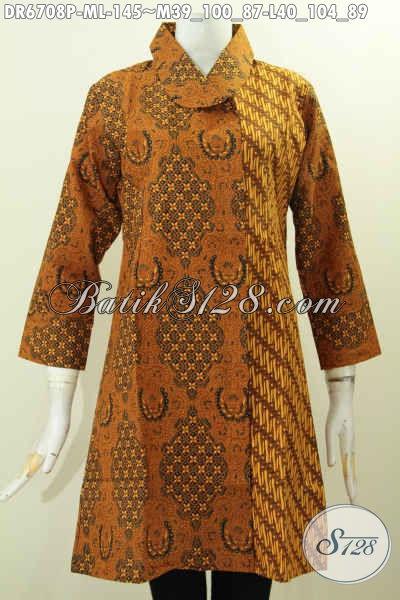 Dress Batik Solo Klasik, Baju Batik Kerah Miring Istimewa Untuk Penampilan Terlihat Beda Dan Istimewa, Baju Batik Printing Hanya 145K [DR6708P-M , L]