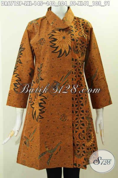 Produk Baju Batik Dress Motif Klasik Kwalitas Istimewa, Pakaian Batik Terkini Buatan Solo Proses Printing Warna Elegan Untuk Penampilan Lebih Berkelas [DR6712P-XL]