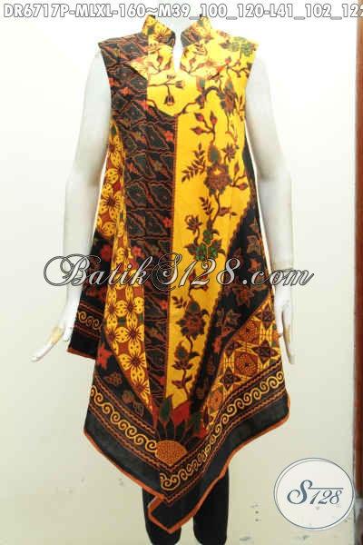 Pakaian Batik Keren Gaul Motif Klasik, Dress Batik Tanpa Lengan Model A Simetris Pake Resleting Belakang Harga 160 Ribu [DR6717P-XL]